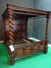 UK STOCK~ 6'  Super King Mahogany wooden four poster canopy Tudor Bed with roof
