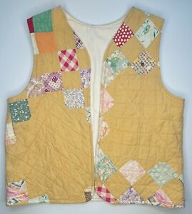 Handmade From A Vintage Quilt Cotton Vest Women's Yellow Sizes 6-8