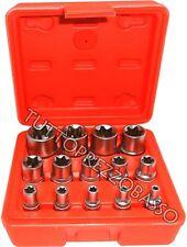 "Kit 14 pz chiavi bussola torx in lega 1/4"" 3/8"" 1/2"" chiave bussole da 4 a 24mm"