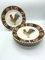 "Gibson Brewster Rooster Luncheon Plates Red Panels Sunflowers 9"" Set of 6! EUC"
