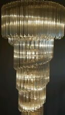 Pair of 1970's VINTAGE CAMER MURANO GLASS VENINI CHANDELIERS - 172 CRYSTALS