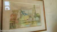 Peinture paysage signée Raimbault. Painting landscape signed Raimbault