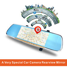 "7""Android 4.4 GPS 1080P Car DVR Rearview Mirror Monitor+Backup Camera"
