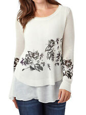 Joe Browns IVORY Print Double Layer Jumper Top Tunic - Plus Size 12 to 32