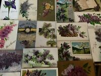 Pretty ~Lot of 20 Lilac Purple Lilacs Flowers~ Vintage Greetings Postcards-a-2