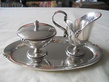 Solid Sterling Silver Mexican 925 Cream Sugar Tray Set 644 Grams