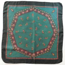 """Vintage English silk scarf green Paisley pattern with flowers 26"""" square en"""