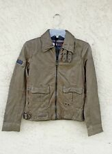 Superdry Warbird Leather Jacket Green DISTRESSED Small NWT/$600