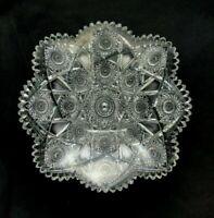 "🟢 Antique ABP Cut Glass Well Cut Large Square 12 1/4"" Bowl"