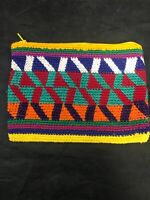 Multi-Color Hand Woven Coin Purse  Pouch X Design Vintage Guatemalan Wallet NOS