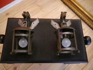 medium lantern shape wall lamps back cast iron pair sconces old