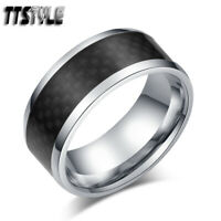 TTstyle 9mm Thick Stainless Steel Black Fibre Wedding Band Ring Choose Size
