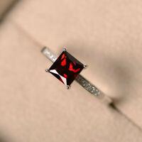 1.40 Ct Princess Garnet Diamond Engagement Ring 14K White Gold Size K 1/2 L M