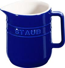 4 Set STAUB céramique petit pot carafe de lait rond bleu foncé 0,25L