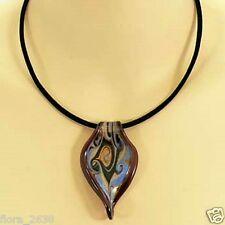 Collier, pendentif Murano marron, bleu, cordon velours noir, bijoux fantaisie