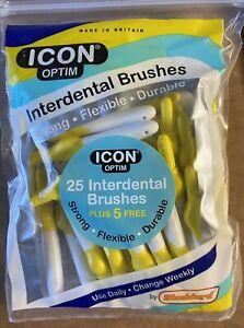 ICON Optim Interdental Brush - Yellow - 25 Brushes  1x Pack+5 Singles Free