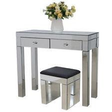 Mirrored Glass 2 Drawers Dressing Table Bedroom Vanity Makeup Stool Desk Set