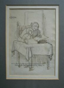 CHARLES WEST COPE RA 1811-1890 SUPERB ORIGINAL PEN INK DRAWING A READING LESSON