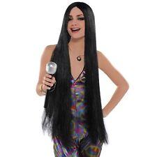 Nouveauté femmes Long Noir Perruque années 60 70 DISCO FEVER CHANTEUR Halloween