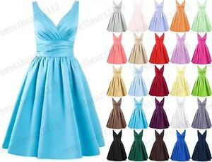 Short Satin Bridesmaid Formal Gown Ball Party Evening Prom Dress Size 6-22