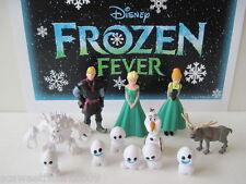 DISNEY FROZEN FEVER Movie 12 PC Deluxe Figure Set Playset Elsa Anna Snowgies