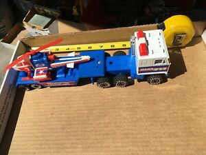 Vintage 1980;s REMCO Semi Truck and Trailer with Helicopter