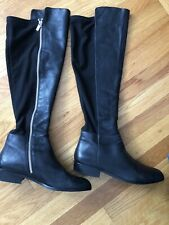 Michael Kors Womens 10Tall Black Leather and Spandex Riding Knee High Boots