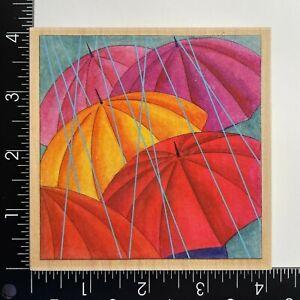 Stamps Happen Umbrellas 80348 Wood Mounted Rubber Stamp Rain