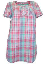 Karierte Damenblusen, - tops & -shirts mit Rundhals-Ausschnitt aus Baumwolle