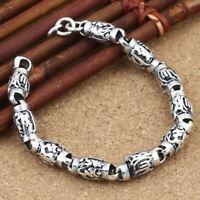 Solid 925 Sterling Silver Chain Vintage Sanskrit Religion Bracelet Jewelry Gift