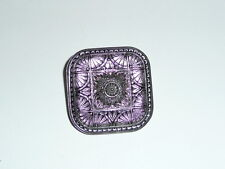 Beautiful Large Purple w/ Silver Colored Accents Square Czech Glass Shank Button