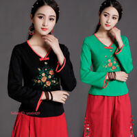 Women Chinese Folk Embroidery Cotton Long Sleeve T-shirt Flower Tops Blouse Soft