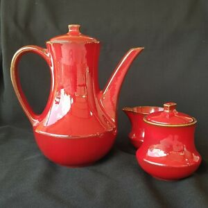 Ernestine of Salerno Coffee Pot, Milk Jug, & Sugar Bowl Set Red, Retro.