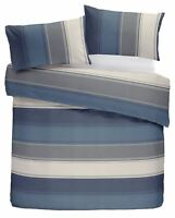 CLASSIC WIDE STRIPE BLUE GREY CREAM COTTON BLEND SUPER KING DUVET COVER