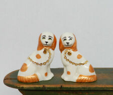 Vintage Donna & Keith Brown Staffordshire Dogs Dollhouse Miniature 1:12