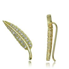 Gold Tone over Sterling Silver Cubic Zirconia Leaf Crawler Climber Earrings