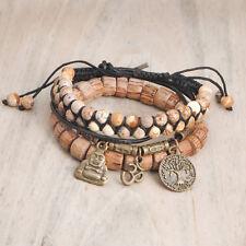 3pcs Bracelets- Jasper Shamballa; Buddha, Ohm, Tree of Life Pendants, Bronze
