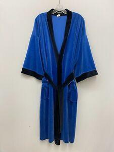 Vintage Christian Dior Monsieur Robe Black & Blue Velour With Belt One Size OS