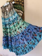 Rayon Tie Dye Dresses for Women with Embroidered