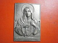 SACRA RELIQUIA Madonna delle Lacrime placca metallo sbalzo bella patina ex voto