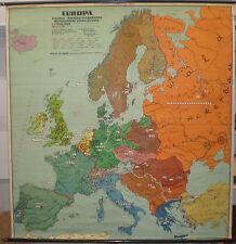 Schulwandkarte schöne alte Europakarte Staaten Wirtschaft 190x198c ~1956 vintage