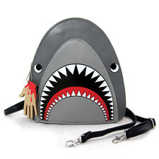NEW BLACK+GREY,GRAY,RED PATENT LEATHERETTE SHARK WITH BLOODY HAND BAG,CROSS BODY