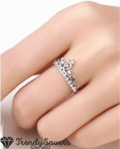Adjustable 925 Sterling Silver Filled Cubic Zircon Elegant Princess Crown Rings