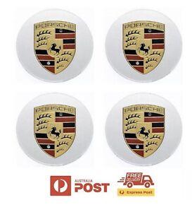 Porsche Wheel Center Caps - Silver   Set of 4   76mm