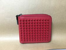 "CHRISTIAN LOUBOUTIN PANETTONE SQUARE WALLET CALF/SPIKES LEATHER ""NEW"" AUTHENTIC"