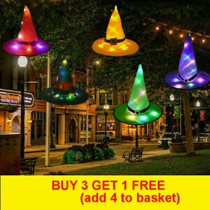 LED Glowing Witch Hat Halloween Tree Outdoor Hanging Decor Light Up Witches Caps