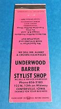 "Vintage ""Underwood"" Barber Shop Matchbook Cover Centerville, Iowa"