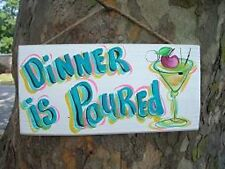 DINER IS POURED TROPICAL TIKI DRINK BEACH BAR COCKTAIL SIGN PLAQUE