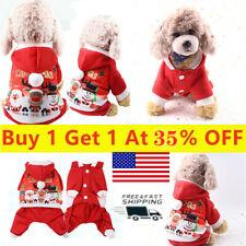 Christmas Santa Pet Dog Clothes Warm Coat Hoodie Puppy Jumpsuit Vests Costume