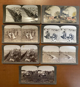 Set Of 7 Antique Stereoview Cards Philippine American War & Battle Of Manila Bay